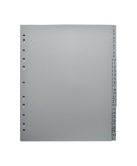Plastic Index 1 - 31 (Grey)